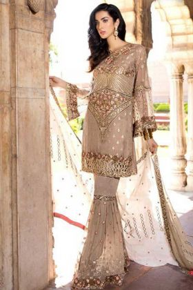 Beige Color Heavy Georgette Pakistani Suit With Embroidery Work
