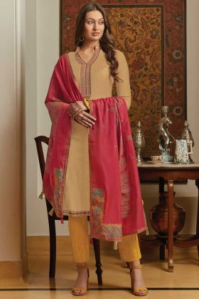 Beige Color Muslin Printed Semi-Stitched Suit