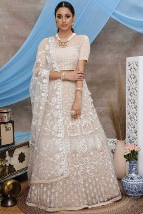 Beige Color Net Fabric Embroidred Work Lehenga Choli
