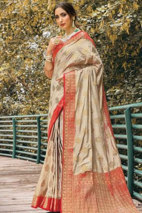 Beige Color Nylon Silk Saree