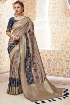 Beige Color Party Wear Banarasi Pure Silk Saree