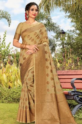 Beige Color Party Wear Cotton Handloom Saree