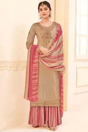 Beige Color Pure Crepe Party Wear Plazzo Suit Online