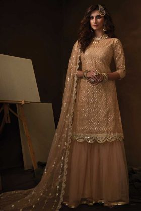 Beige Color Soft Net Sharara Dress With Soft Net Dupatta
