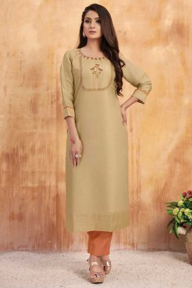 Beige Color Tussar Satin Hand Work Kurti With Bottom