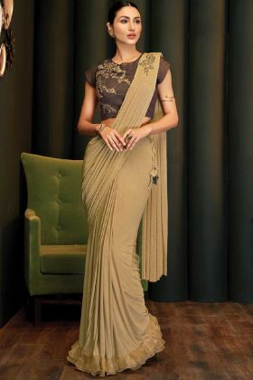 Beige Designer Lycra Saree Blouse For Party