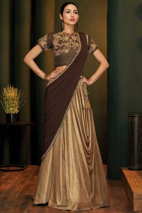 Beige Fancy Lycra Latest Saree Trends For Weddings