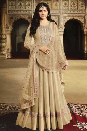 Beige Georgette Anarkali Suit With Net Dupatta