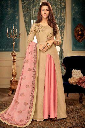 Beige Muslin Designer Gown With Dupatta