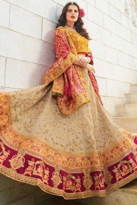 Beige Mustard Wine Raw Silk Lehenga Choli With Heavy Dupatta