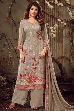 Beige Palazzo Salwar Suit Georgette Fabric Fancy Design