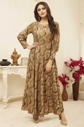 Beige Printed Long Dresses For Girls