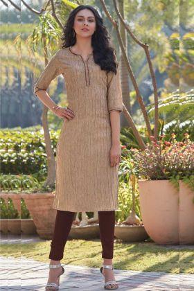 Beige South Cotton Daily Wear Kurti For Diwali