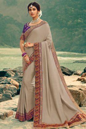 Beige Vichitra Silk Heavy Designer Saree For Upcoming Function
