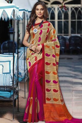 Beige and Pink Latest Collection Festival Saree