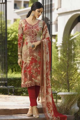 Beige And Red Color Crepe Printed Salwar Suit