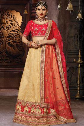 Beige Banarasi Art Silk Lehenga Choli