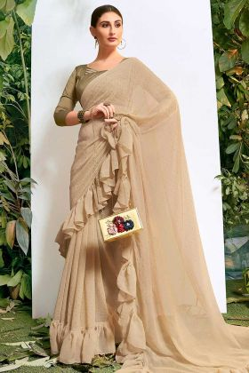 Beige Chiffon Party Wear Ruffle Saree With Stone Work