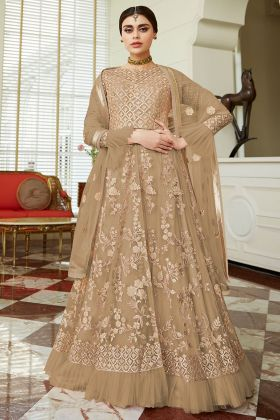 Beige Color Butterfly Net Anarkali Salwar Suit With Heavy Embroidery Work