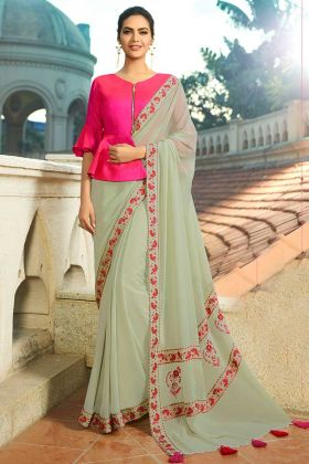 Beige Color Chanderi Chiffon Saree With Embroidery Work