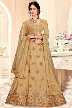 Beige Color Designer Lehenga Choli Jacquard Silk Fabric