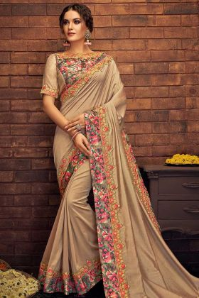 Beige Color Dual Tone Silk Border Saree With Thread Embroidey Work