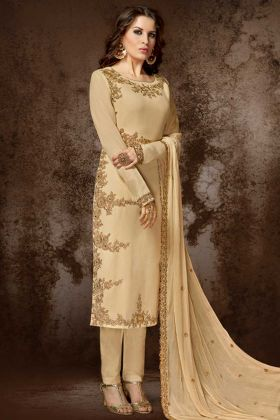 Beige Color Georgette Pant Style Dress With Embroidery Work