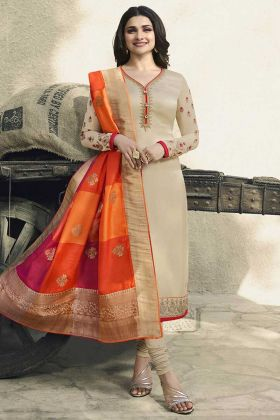 Beige Color Georgette Satin Festive Salwar Suit