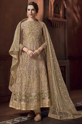 Beige Color Heavy Net Anarkali Salwar Suit
