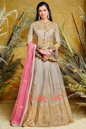 Beige Color Heavy Net With Pure Silk Indo Western Salwar Suit In Stone Work