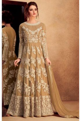 Beige Color Heavy Silk Anarkali Salwar Suit With Narzling Dupatta
