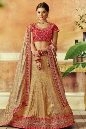 Beige Color Jacquard Silk Lehenga Choli