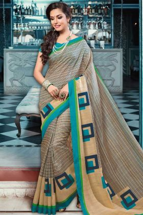 Beige Color Latest Collection Printed Saree
