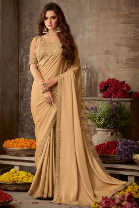 Beige Color Miracle Silk Party Wear Saree With Embroidery Work