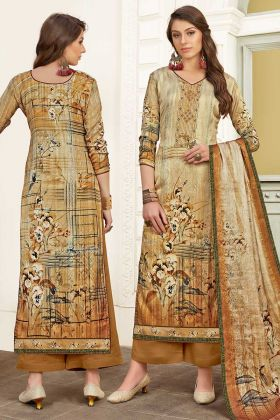 Beige Color Modal Satin Palazzo Salwar Suit With Printed Work