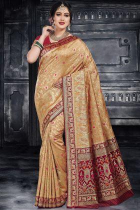 Beige Color Monga Silk Traditional Saree