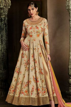 Beige Color Nakakashi Handloom Silk Anarkali Salwar Suit