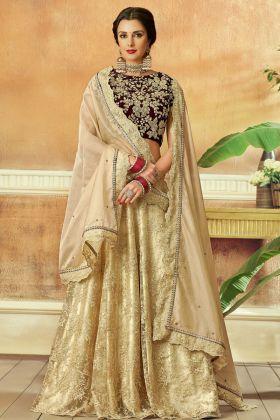 Beige Color Net Embroidery Lehenga Choli