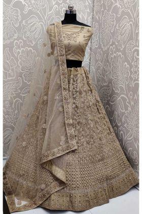 Beige Color Net Lehenga Choli With Resham Embroidery Work