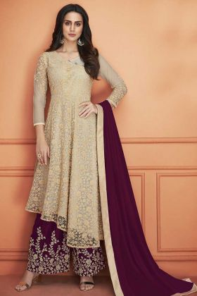 Beige Color Net Palazzo Suit With Heavy Zari Embroidery Work