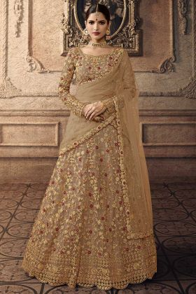 Beige Color Net Party Wear Lehenga Choli With Embroidery Work