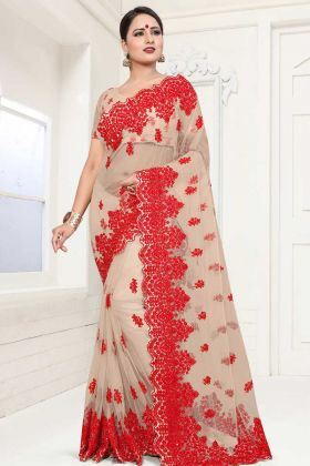 Beige Color Net Wedding Saree With Blouse