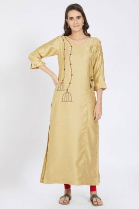 Beige Color Polyester Kurti