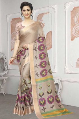Beige Color Printed Saree Soft Cotton