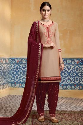 Beige Color Pure Satin Patiala Salwar Suit With Embroidery Work