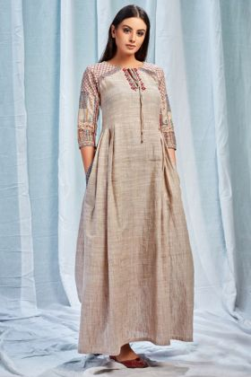 Beige Color Pure South Cotton Designer Kurti With Digital Print Work