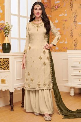 Beige Color Satin Georgette Sharara Salwar Suit With Chinon Dupatta