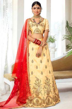 Beige Color Silk Designer Lehenga Choli With Heavy Zari Embroidery Work