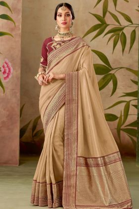 Beige Color Traditional Silk Saree