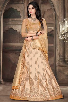 Beige Color Wedding Lehenga In Satin Silk Fabric